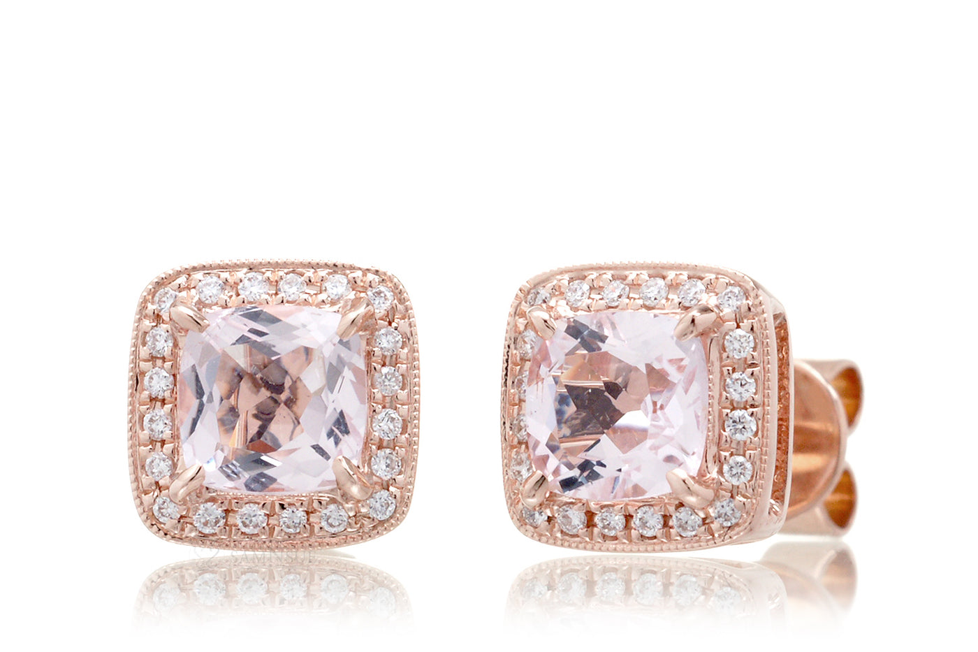 Morganite cushion 5x5 solitaire diamond halo stud earrings rose gold