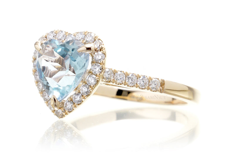 The Alexa Heart Aquamarine