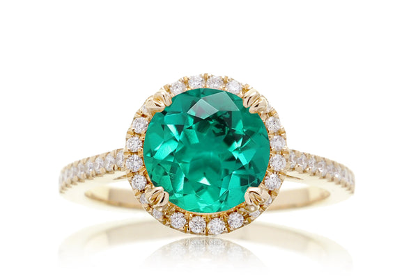 The Signature Round Lab-Grown Green Emerald