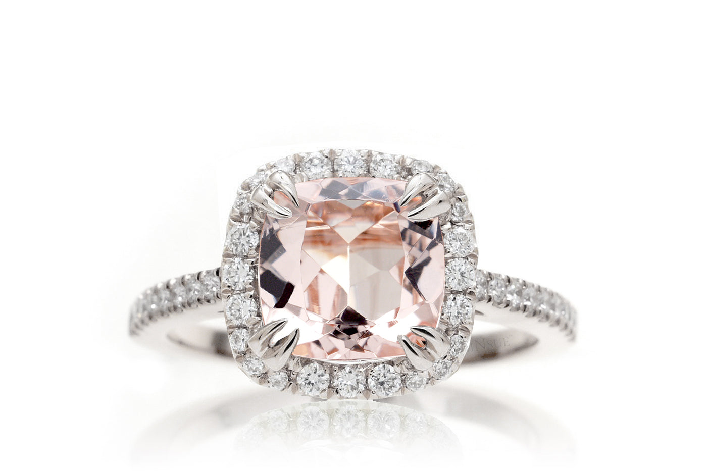 Morganite ring cushion 7x7 diamond halo cathedral setting engagement ring peachy pink