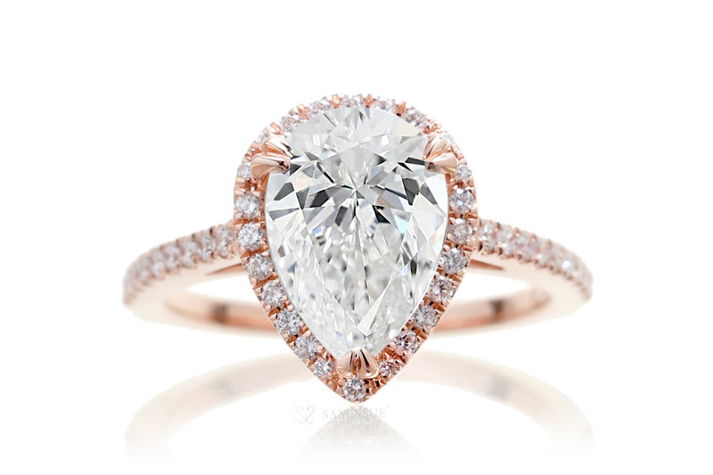 Pear Diamond Halo Engagement Ring | Lab Grown | The Signature In Rose Gold