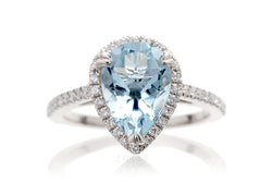 Woman Aquamarine Engagement Ring | The Signature Pear White Gold