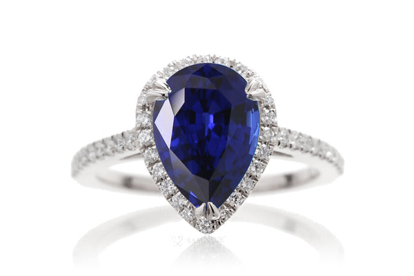 The Signature Pear Chatham Blue Sapphire