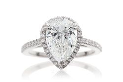 Pear Diamond Halo Engagement Ring | Lab Grown | The Signature In White Gold