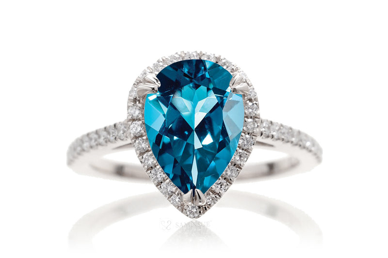 London blue topaz pear shape diamond halo engagement ring | The Signature Ring In White Gold