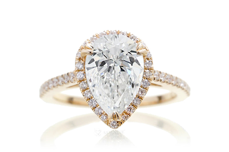 Pear Diamond Halo Engagement Ring | Lab Grown | The Signature In Yellow Gold