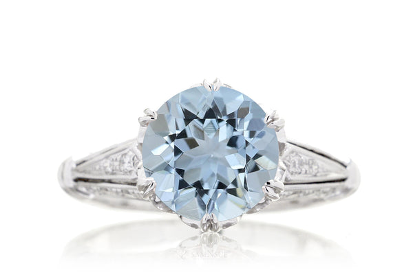 Round Aquamarine Vintage Style Crown Engagement Ring