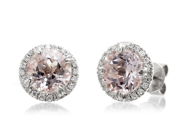 The Signature Round Morganite Studs (6mm)
