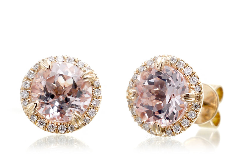 The Signature Round Morganite Studs