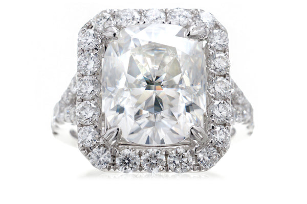Large Cushion Moissanite Halo Split Band Engagement Ring | The Meghan