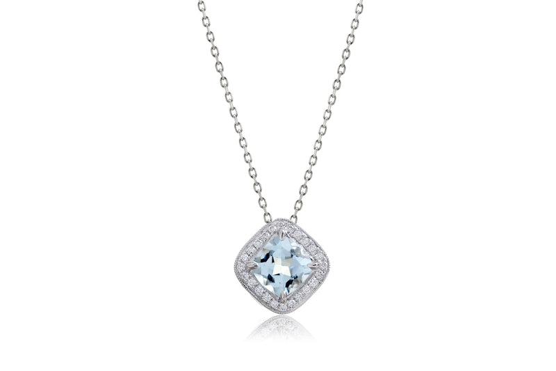 Aquamarine Cushion Diamond Halo Pendant (5mm)