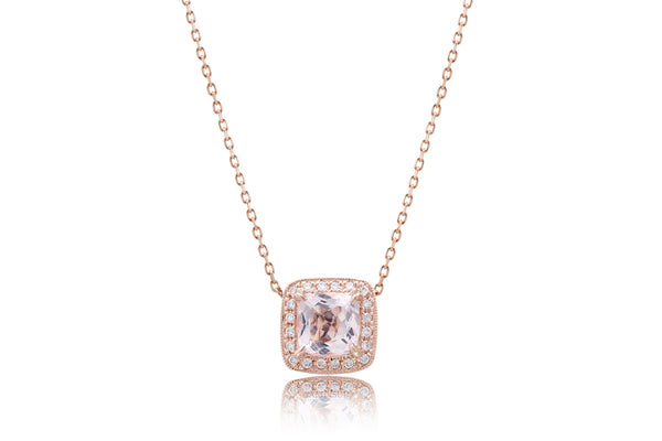 Morganite Pendant Cushion Diamond Halo (5mm)