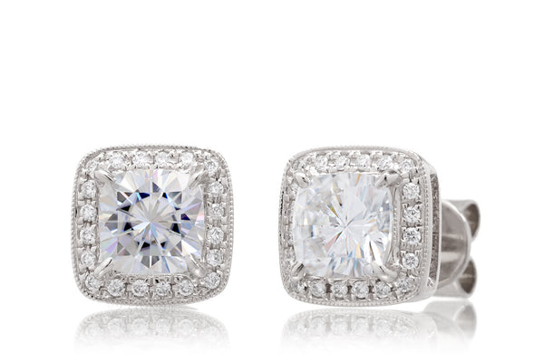 Cushion Moissanite Stud Earrings With Diamond Halo White Gold