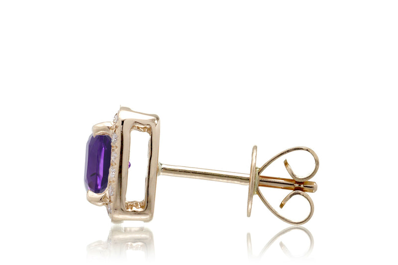 Amethyst Studs Cushion Diamond Halo