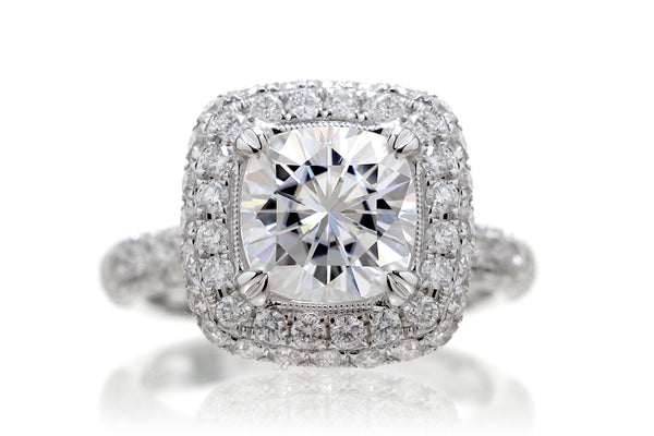 The Leila Halo Cushion Moissanite (7x7)