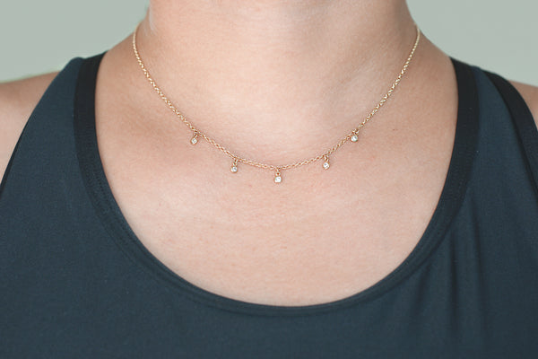 Diamond Dangle Necklace Bezel Setting (5 stones)