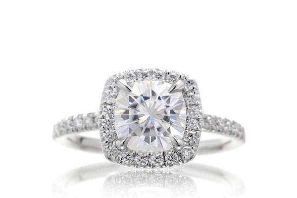 Cushion Moissanite Square Diamond Halo Engagement Ring | The Caitlin