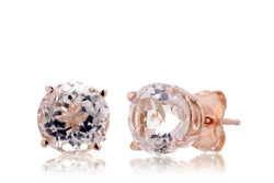 Round Morganite Stud Earrings 7mm Rose Gold