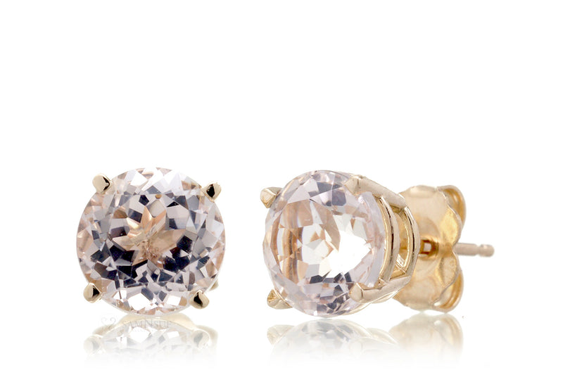Round Morganite Stud Earrings 7mm Yellow Gold