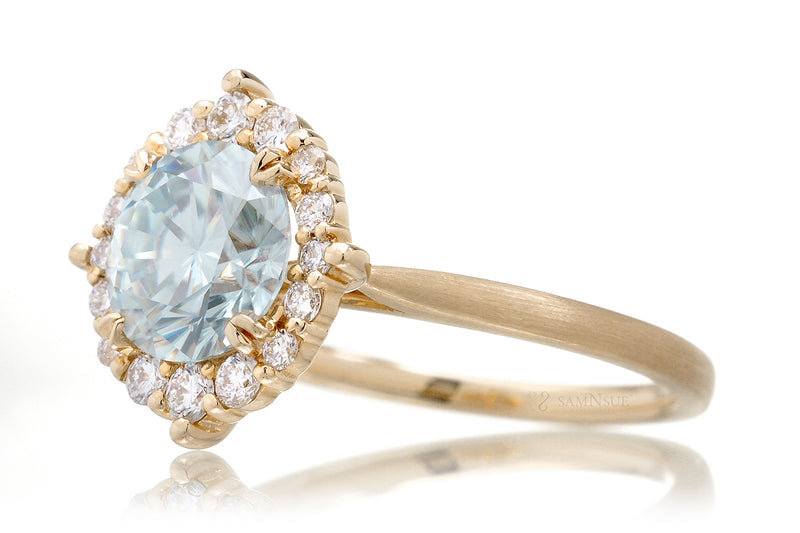 The Haley Round Blue Moissanite