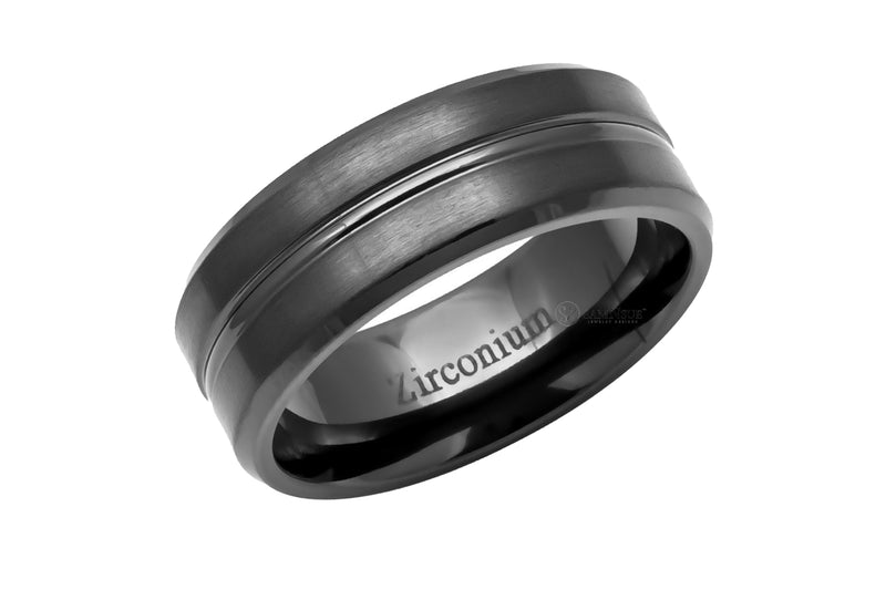 The Beveled Zirconium Band With Center Groove
