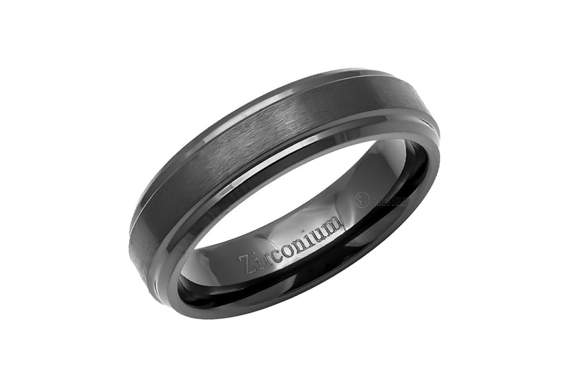The Step Edges Beveled Zirconium Band
