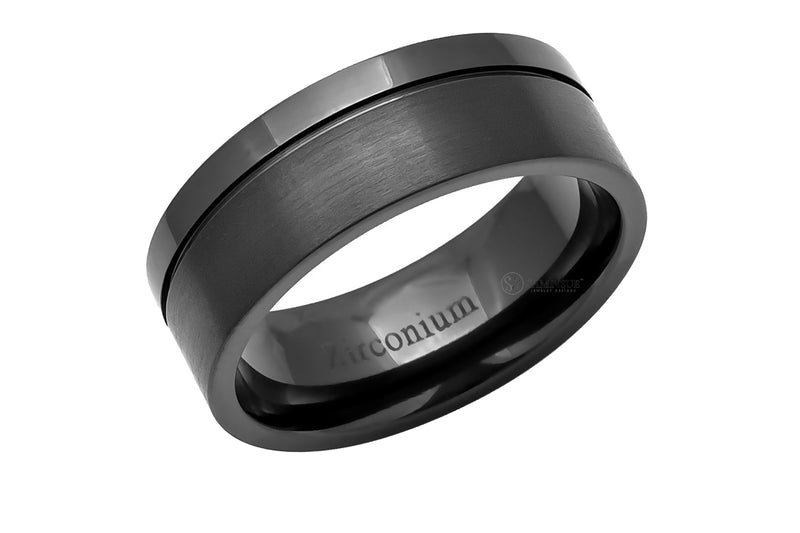 The Flat Off Center Groove Zirconium Band