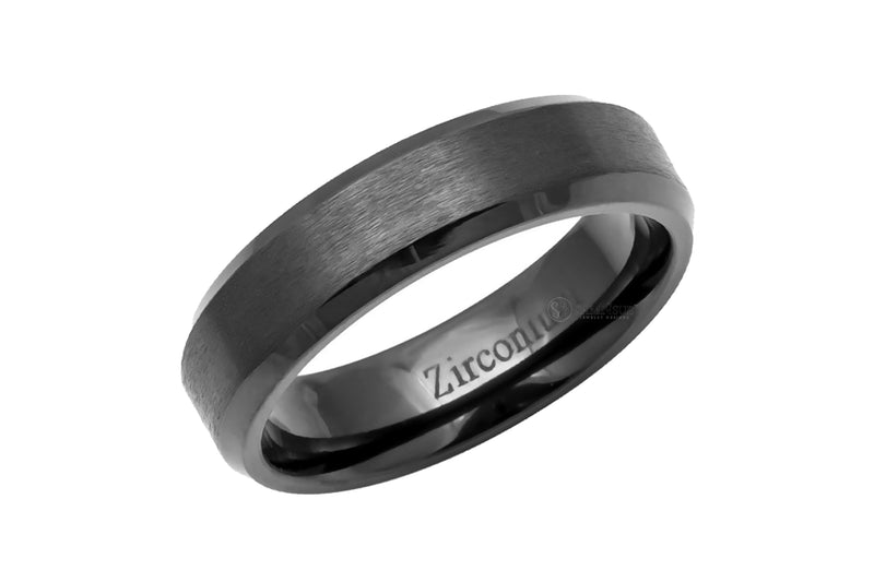 Zirconium Beveled Edge Brushed Men's Band 6mm
