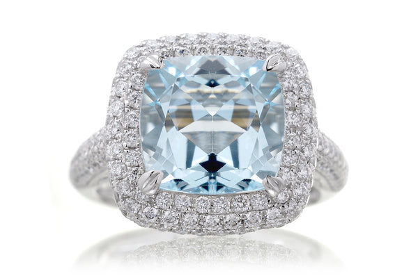 The Pamela Cushion Aquamarine