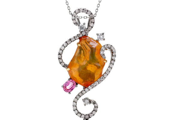 The Fire Opal And Pink Sapphire Pendant