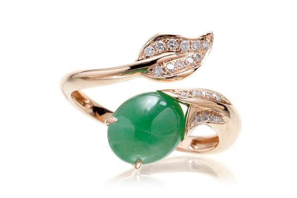 Jade cabochon leaf diamond ring in rose gold