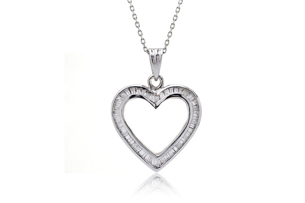 The Heart Baguette Channel Set Pendant