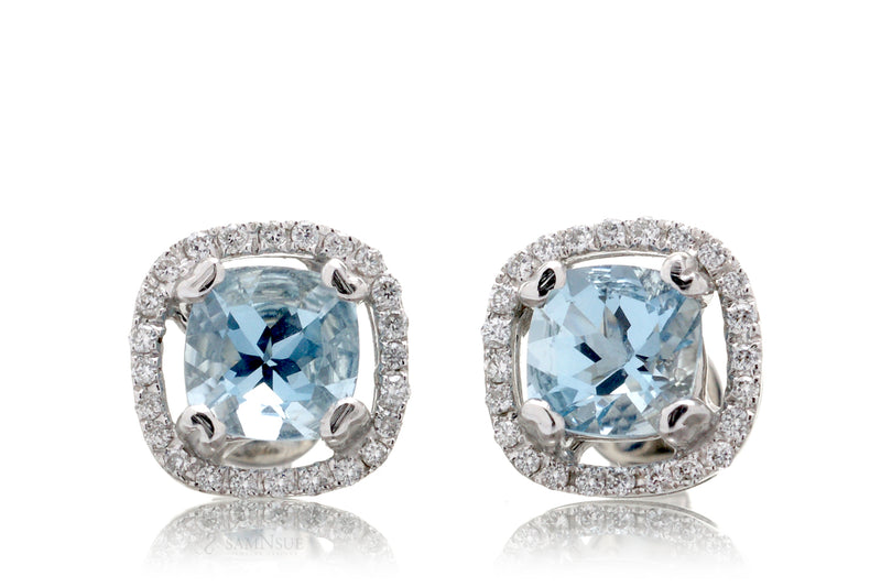 Aquamarine Open Diamond Halo Stud Earrings
