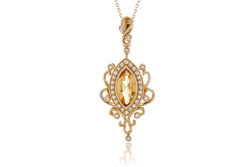The Yoko Citrine Diamond Pendant