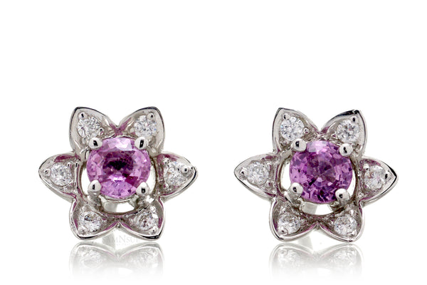 The Daffodil Pink Sapphire Diamond Stud Earrings