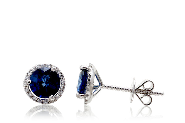 Sapphire Martini Stud Diamond Halo Earrings