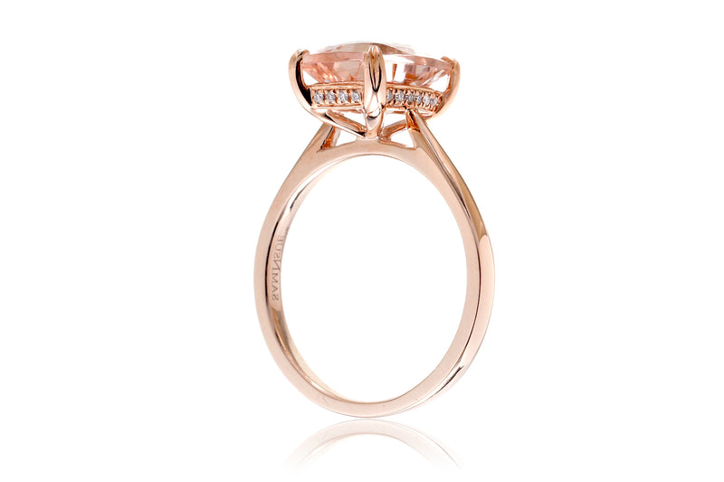 The Emily Cushion Morganite (With Diamond Accent On The Basket)