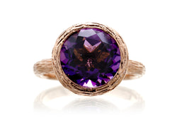 The Twig Round Amethyst Ring (10mm)