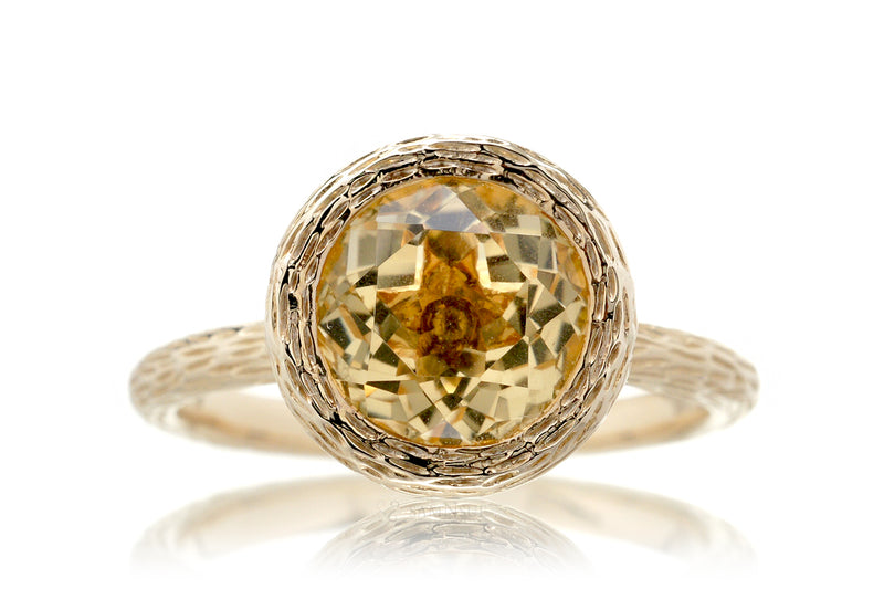 The Twig Round Citrine Ring (8mm)
