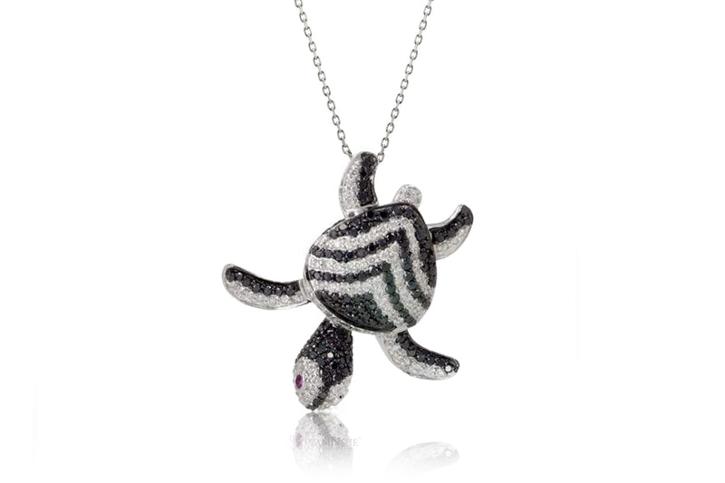 Turtle Diamond Pendant With Black Diamond Chevron Shell