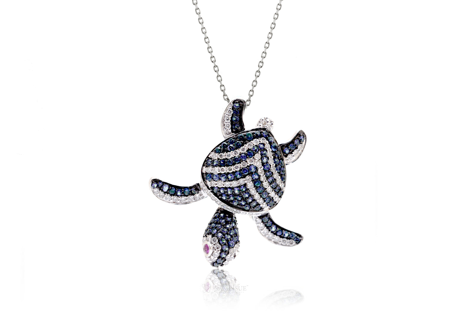 Turtle pendant diamond and blue sapphire 18k white gold mozeypictures Images