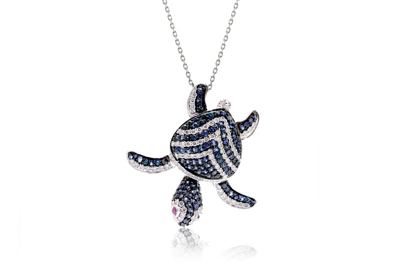 Turtle Diamond Pendant With Blue Sapphire Chevron Shell