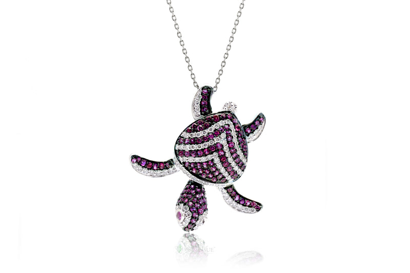 Turtle Diamond Pendant With Red Ruby Chevron Shell