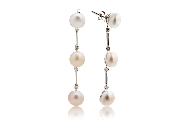 Pearl Diamond Dangle Three 2.5 inches