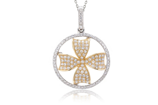 The Clover In Circle Diamond Pendant