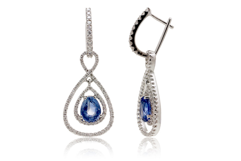 Pear Ceylon Sapphire Diamond Dangle Earrings