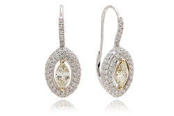 Marquise Diamond Halo Lever Backs Dangling Earrings