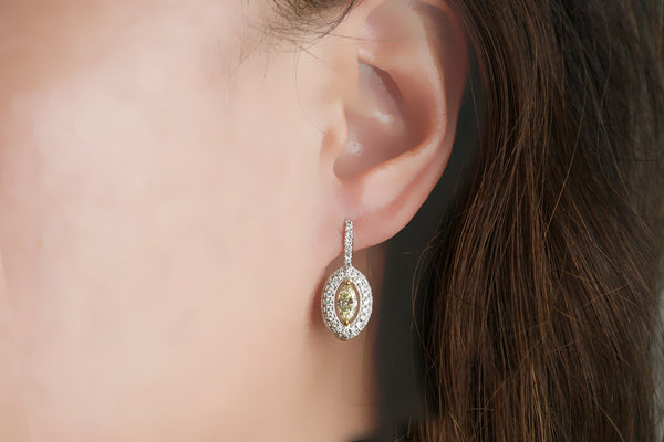 The Marquise Diamond Halo Earrings