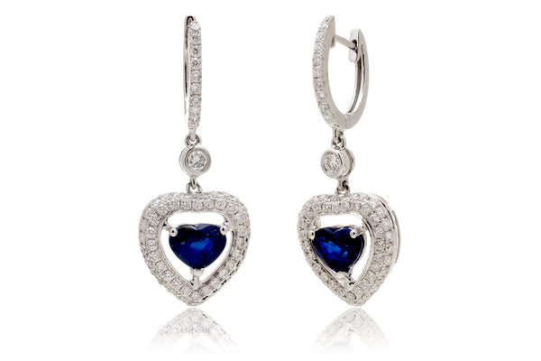 Blue Heart Sapphire Dangle Earrings White Gold