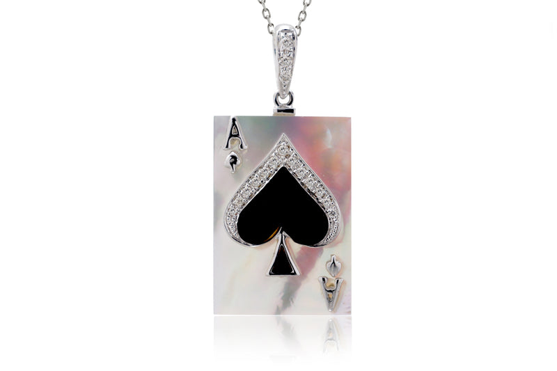 The Ace Of Spade Mother Of Pearl Pendant